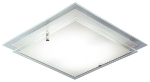 Frame Flush Glass Satin Chrome Ceiling Light FRA472 (052159)